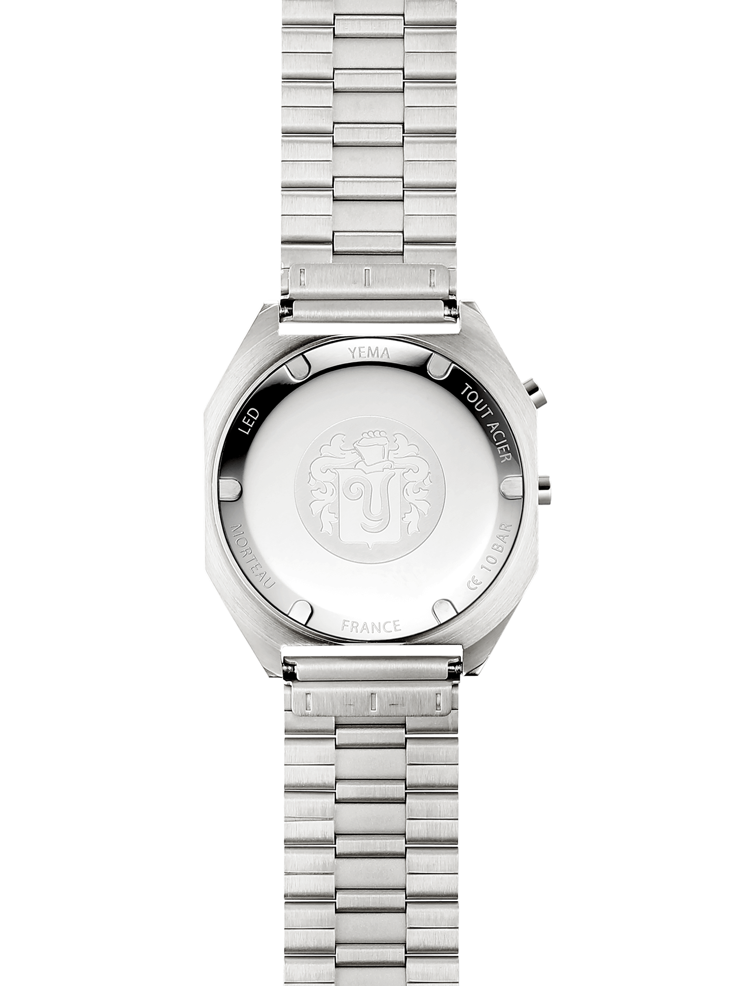 YEMA LED Silver, embossed steel caseback.