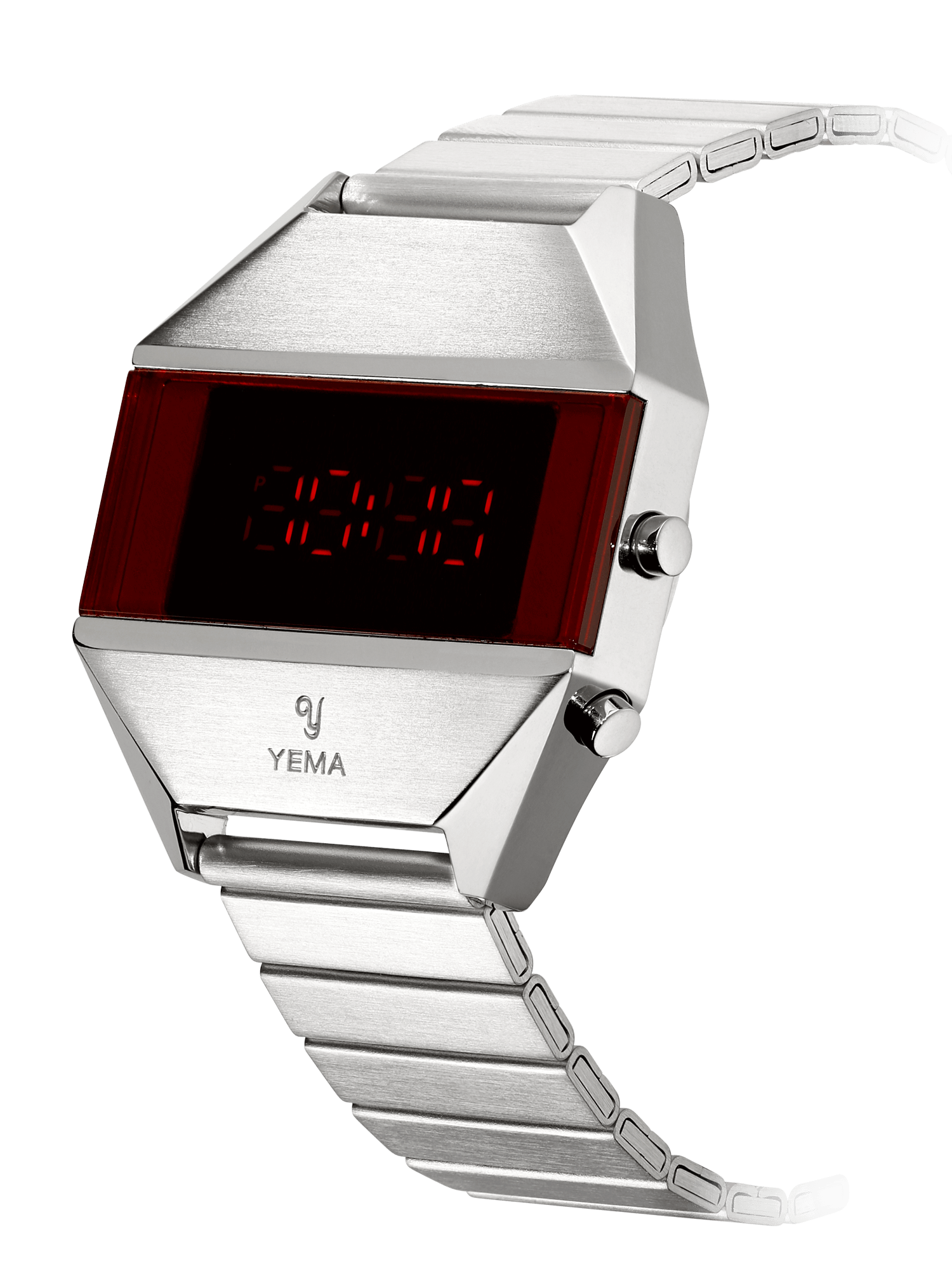 YEMA LED Silver, embossed yema logo on case, steel strap.