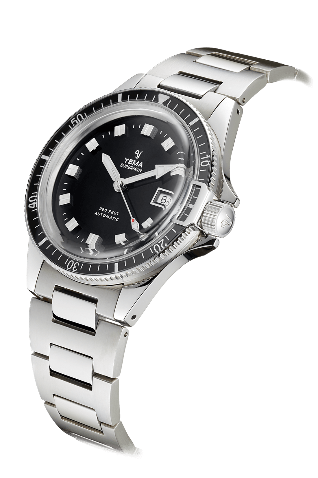 YEMA Superman Heritage US Edition, domed sapphire bezel, steel bezel-lock, black dial.
