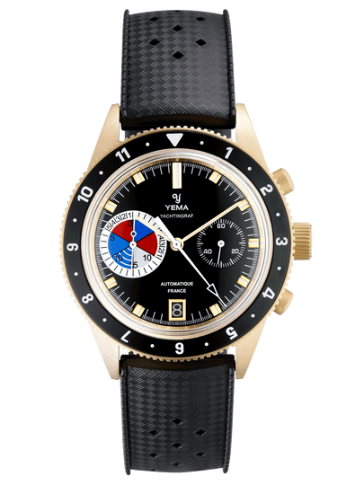 YEMA Yachtingraf Bronze Limited Edition, black dial, regatta three colors countdown, gold markers.