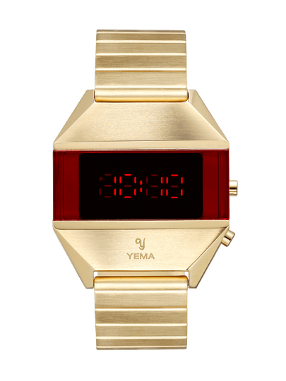 YEMA LED Gold, Led red dial display, golden case.