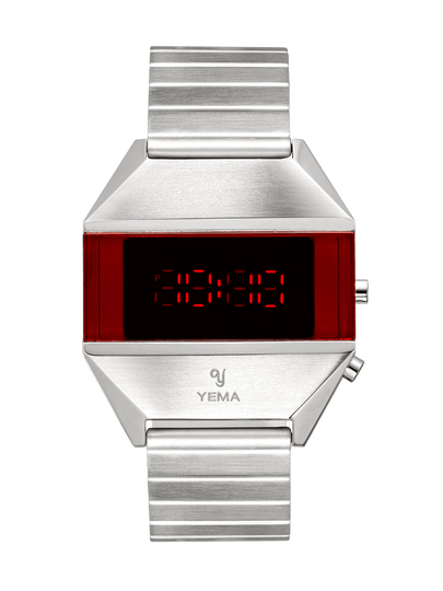 YEMA LED SILVER, red LED display dial, steel case.