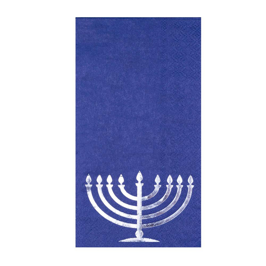 Chanukah Navy & silver Guest Towels 16 ct