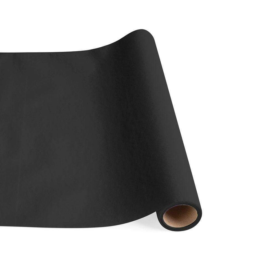 Paper Linen Solid Table Runner in Black
