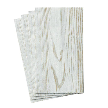 Faux Bois Birch Paper Linen Guest Towel Napkins - 12 Per Package