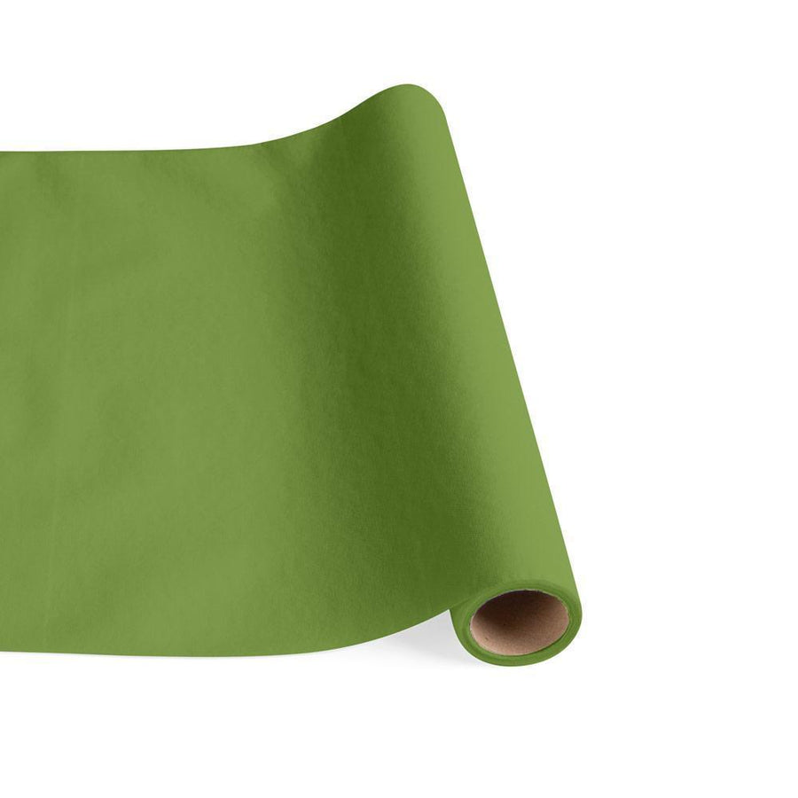 Paper Linen Solid Table Runner in Moss Green
