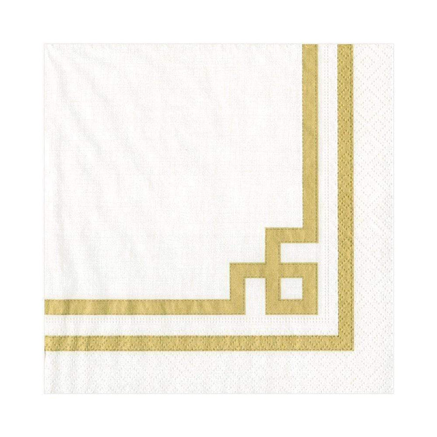 Rive Gauche Paper Luncheon Napkins in Gold & White - 20 Per Package