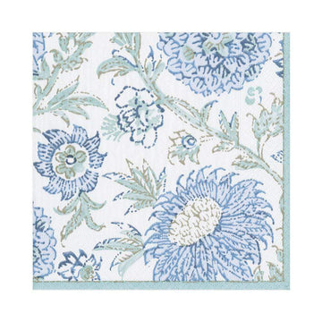 Indiennes Paper Luncheon Napkins in Aqua - 20 Per Package