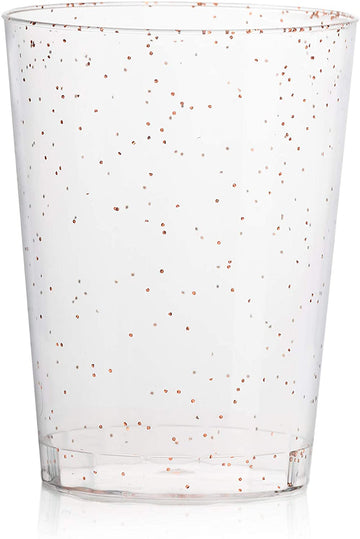 10 oz Rose Gold Glitter Clear Plastic Cups Tumblers