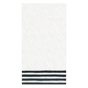 Border Stripe Paper Guest Towel Napkins in Black & White - 15 Per Package