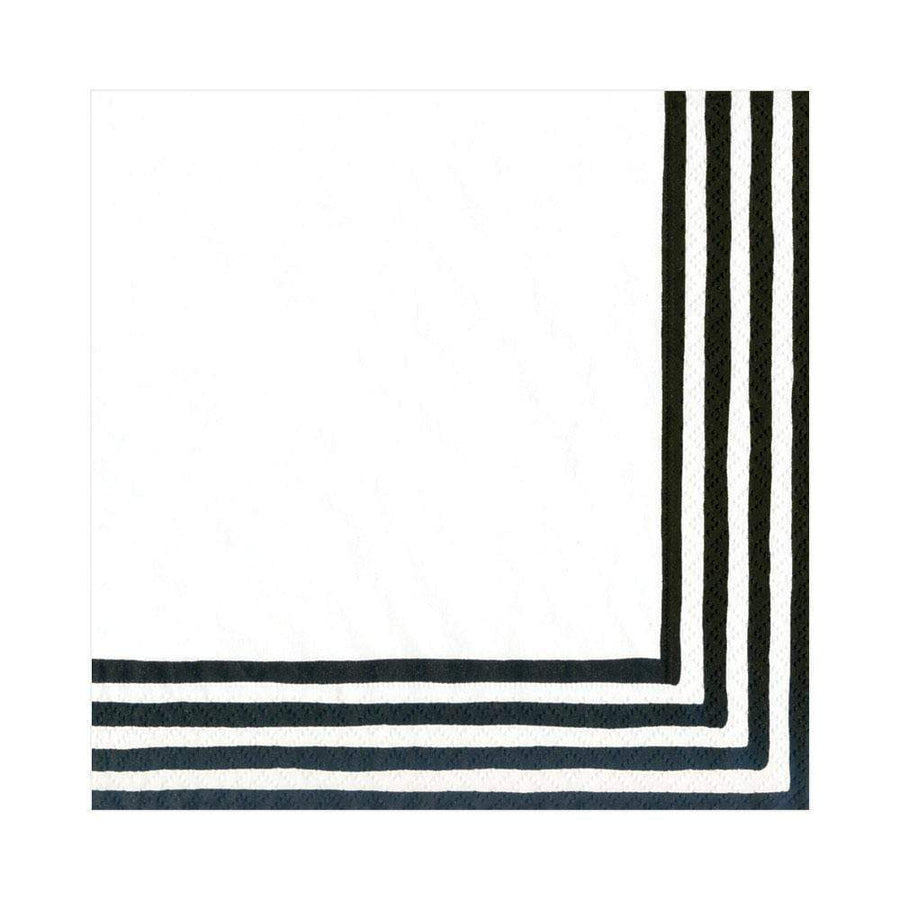 Border Stripe Paper Luncheon Napkins in Black & White - 20 Per Package
