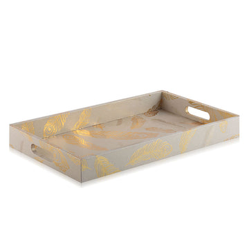 Rectangular Gold Tray With Leaf Design