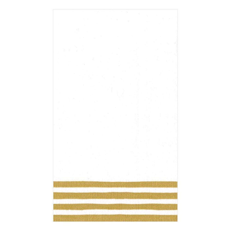 Border Stripe Paper Linen Guest Towel Napkins in Gold & White - 12 Per Package