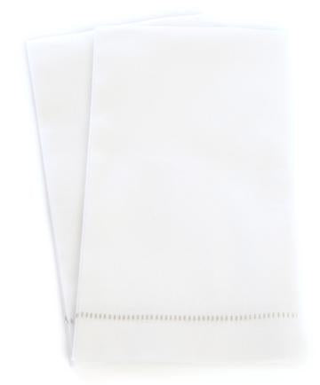 Deluxe 'Hemstitch' Guest Towel - Special White with Grey Stitch
