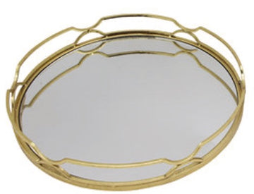 GOLD LEAF METAL MIRRORED ROUND TRAY - LARGE