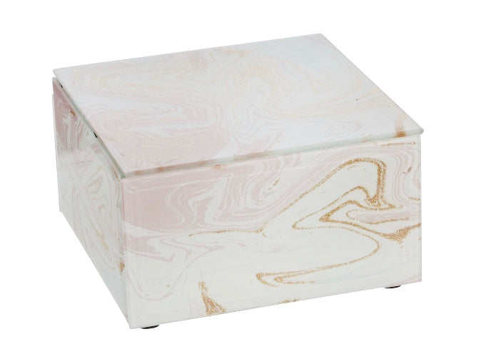 WOOD / GLASS PINK MARBLE JEWELRY BOX - SMALL