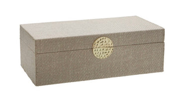 WOOD /  JEWELRY BOX, WHITE / GOLD MEDALLION - LARGE
