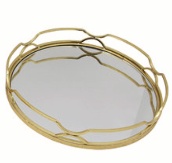 GOLD LEAF METAL MIRRORED ROUND TRAY - MEDIUM