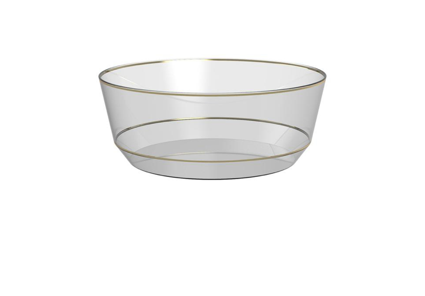 14 Oz. Round Clear • Gold Plastic Bowls | 10 Bowls