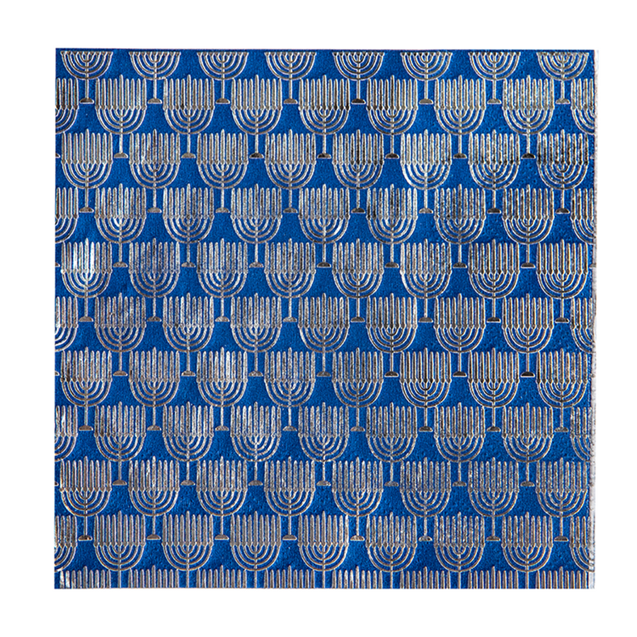 Chanukah Navy & Silver Cocktail Napkin 20 ct