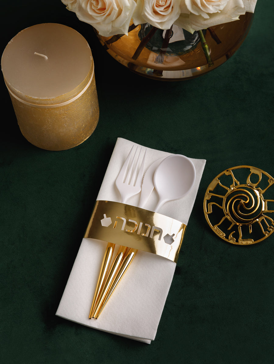 Gold Chanukkah Napkin Bands 8-Count