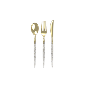 Gold Glitter Two Tone Cutlery Set | 32 Pieces