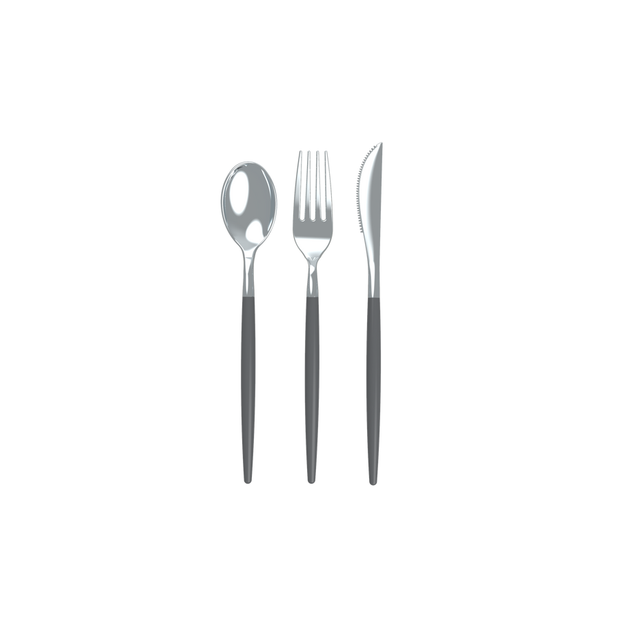 Grey and Silver Two Tone Cutlery Set | 32 Pieces