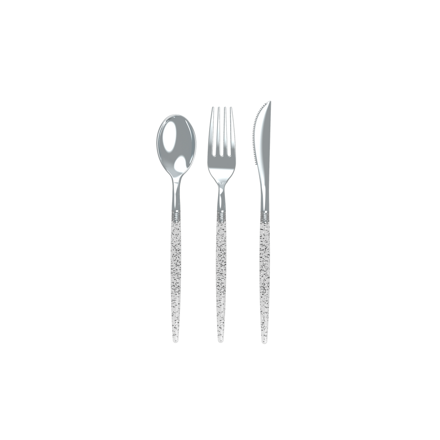 Silver Glitter Two Tone Cutlery Set | 32 Pieces