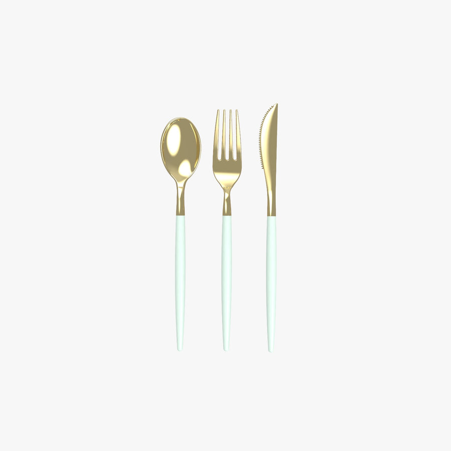 Mint • Gold Plastic Cutlery Set | 32 Pieces