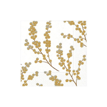 Berry Branches Paper Luncheon Napkins in White & Gold - 20 Per Package