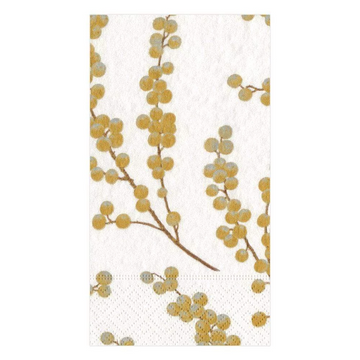 Berry Branches Paper Guest Towel Napkins in White & Gold - 15 Per Package