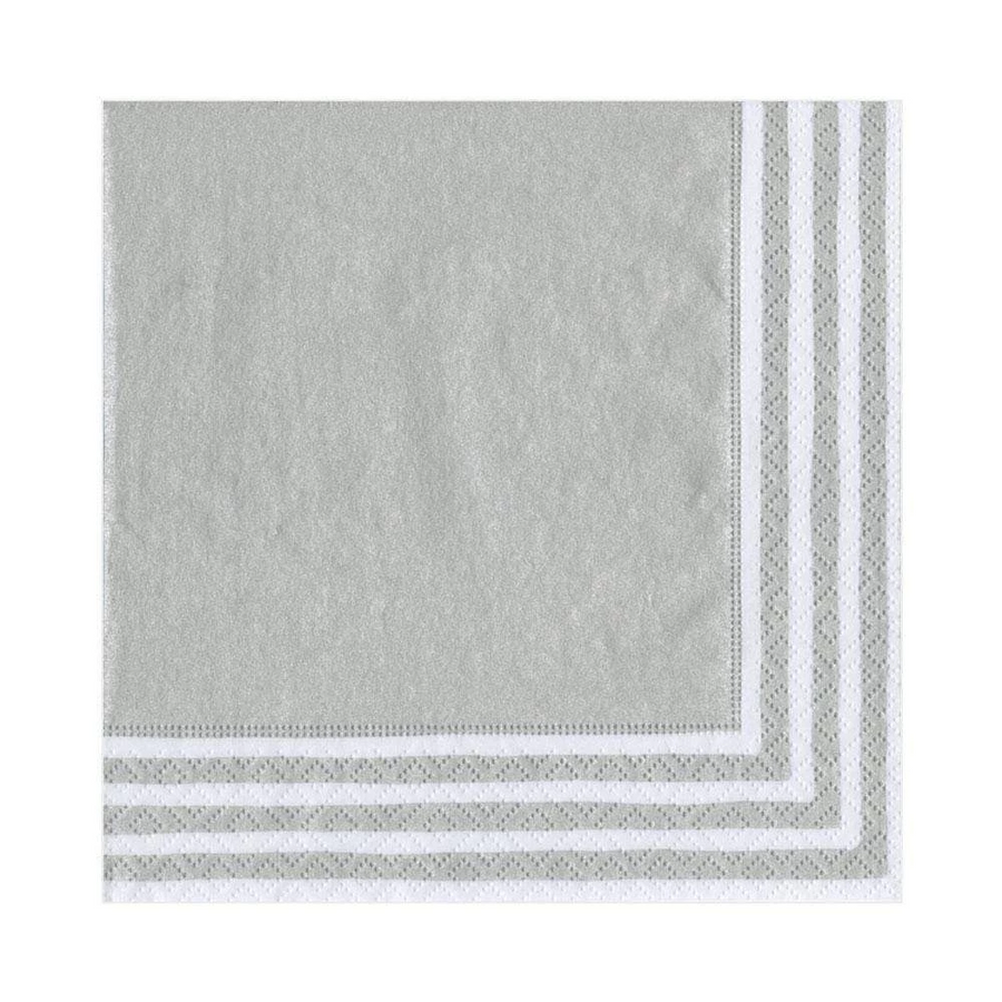 Border Stripe Paper Luncheon Napkins in Silver - 20 Per Package