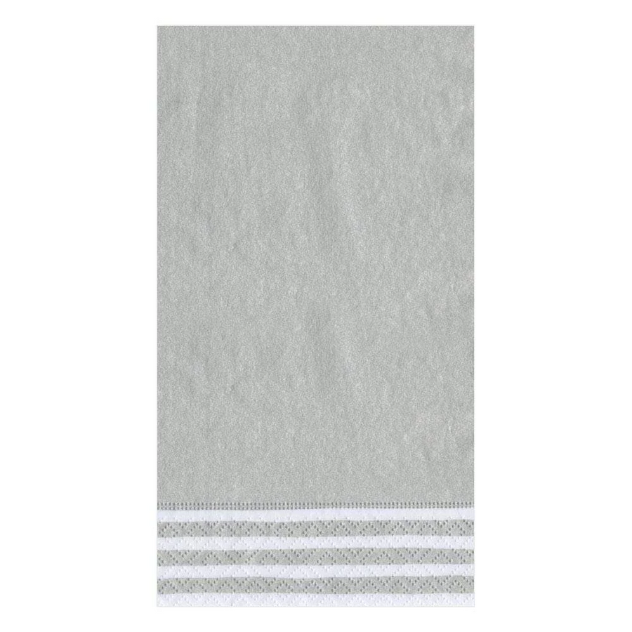 Border Stripe Paper Guest Towel Napkins in Silver - 15 Per Package