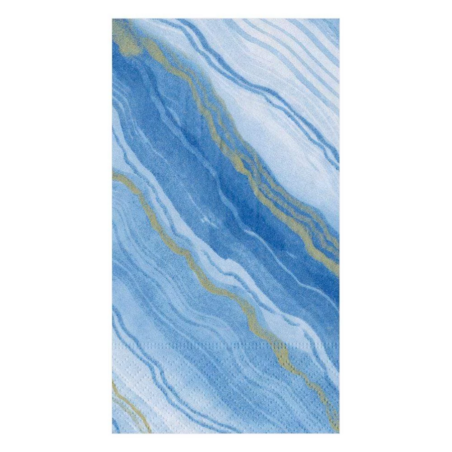 Marble Paper Guest Towel Napkins in Blue - 15 Per Package
