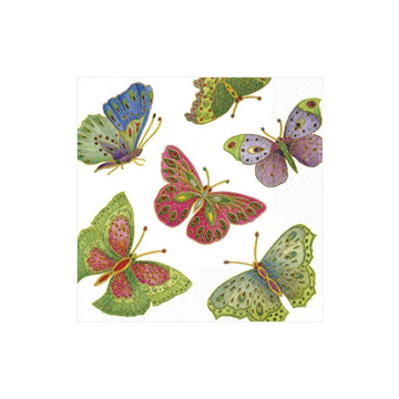 Jeweled Butterflies Paper Cocktail Napkins in Pearl - 20 Per Package