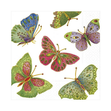 Jeweled Butterflies Paper Luncheon Napkins in Pearl - 20 Per Package