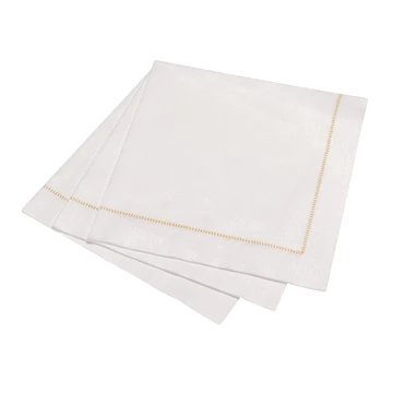 Deluxe 'Hemstitch' Dinner Napkin 50 Piece Pack - Special White with Gold Stitch