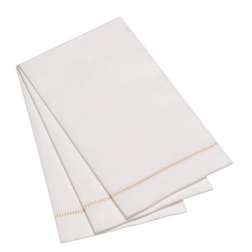 Deluxe 'Hemstitch' Guest Towel - Special White with Gold Stitch 25 ct