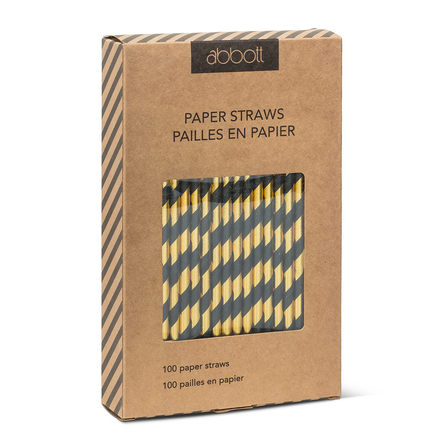 Black and Gold Striped Paper Straws