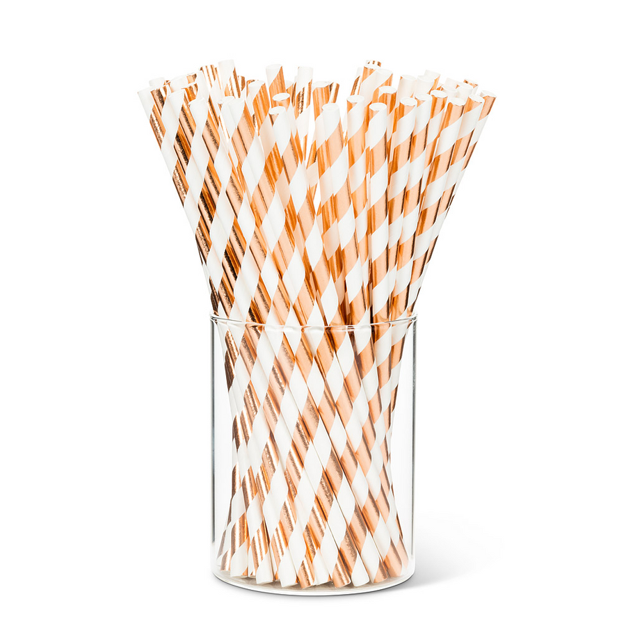 Rose Gold and White Striped Paper Straws