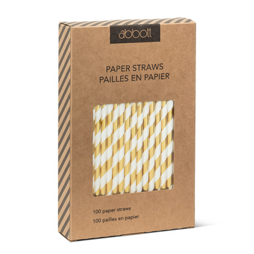 Gold and White Striped Paper Straws