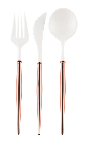 White and Rose Gold BELLA 24 Piece Flatware
