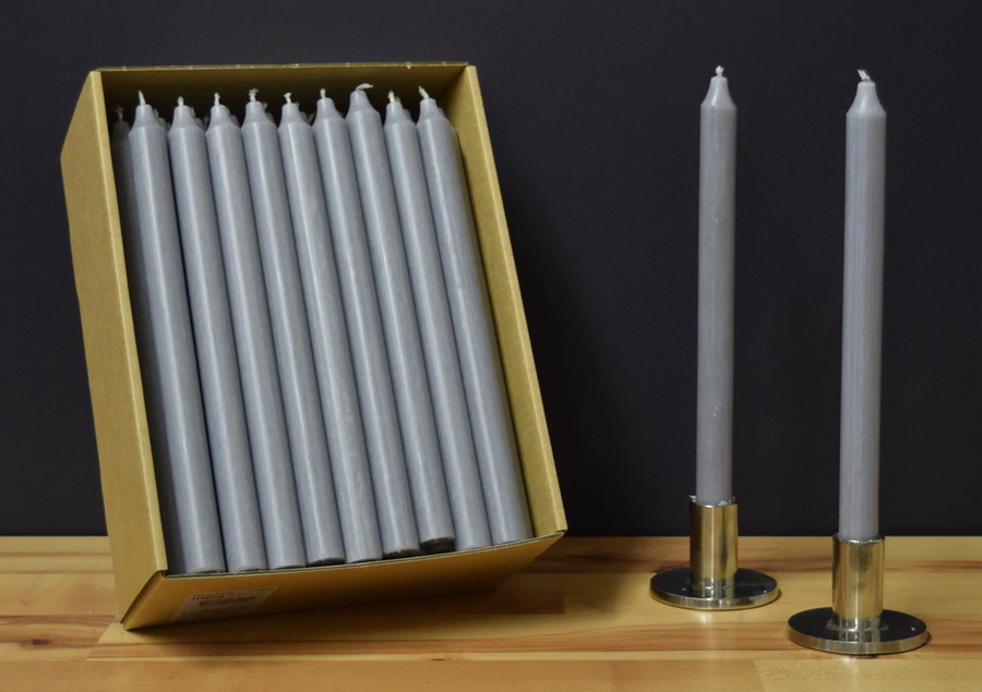 12'' Grey Taper Candle