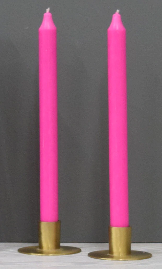 12'' Hot Pink Taper Candle
