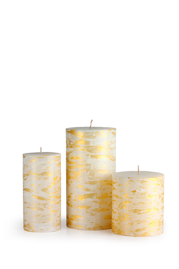 Festive Illumination White and Gold Candle
