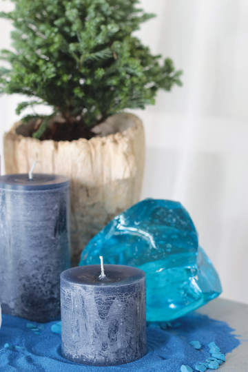 Blue Timber Pillar Candle