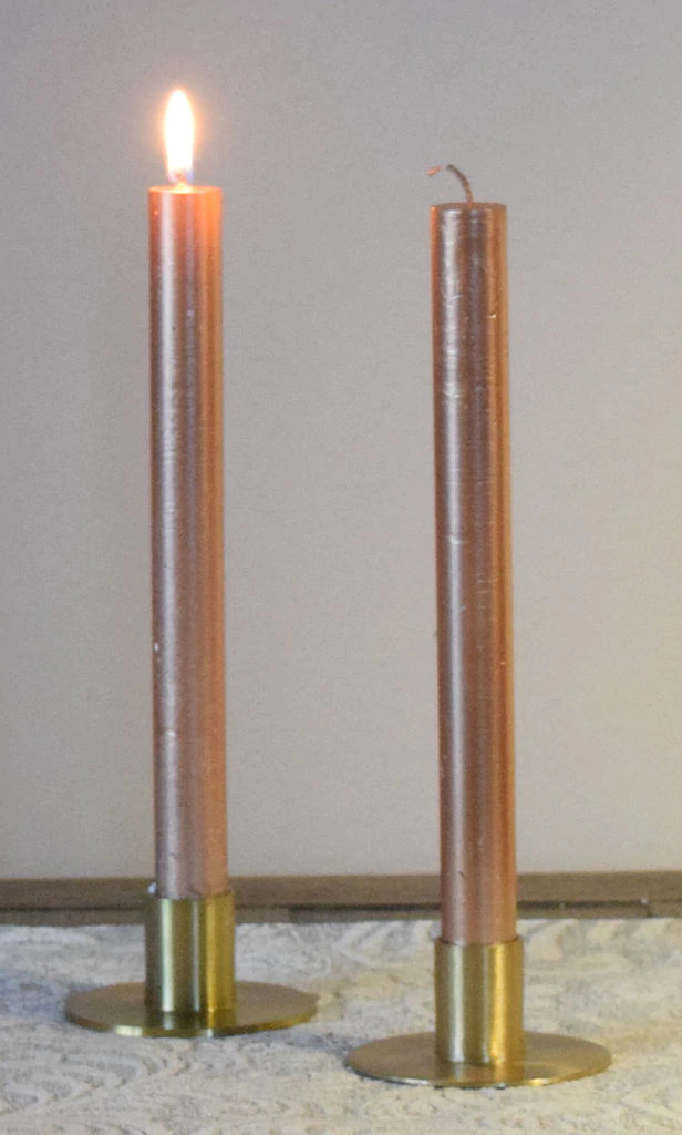 10'' Metallic Taper Rose Gold Candle