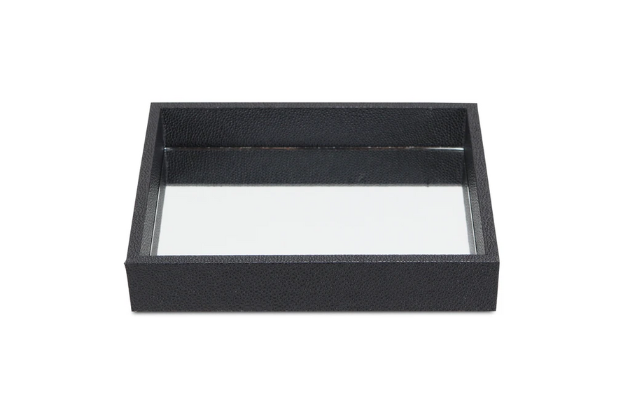 Rectangular Small Black Bubble Texture Tray With Center Mirror