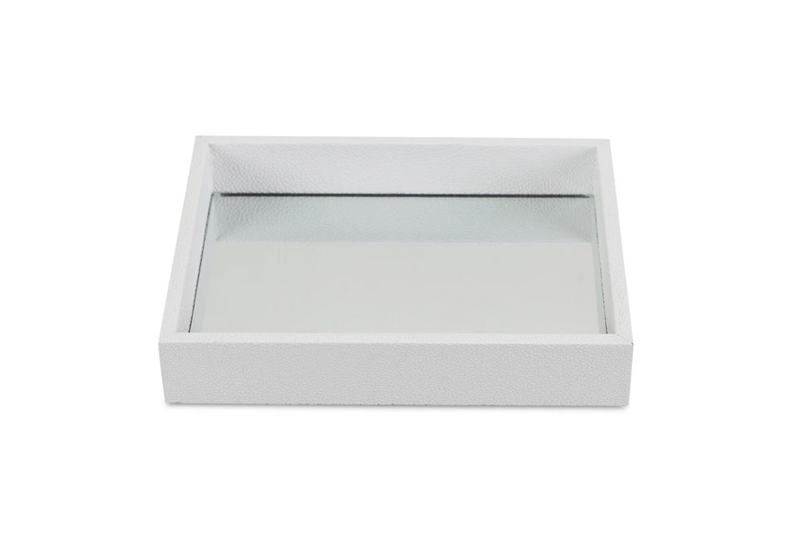 Rectangular Small White Bubble Texture Tray With Center Mirror