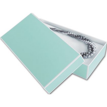 Aqua Rectangular Box With White Trim